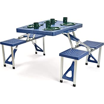Portable Folding Compact Aluminum Indoor Outdoor Picnic Table with 4 Seats Blue