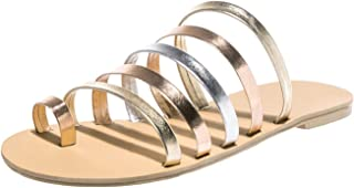 XianYuu Women Flat Sandals Gladiator Sandals Ladies Strap Slippers Flip Flops Sandales