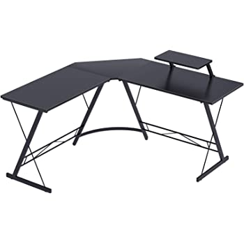 """Coleshome L Shaped Desk, 51"""" Home Office Corner Desk with Shelf, Gaming Computer Desk with Monitor Stand, PC Table Workstation with Shelf, Black"""