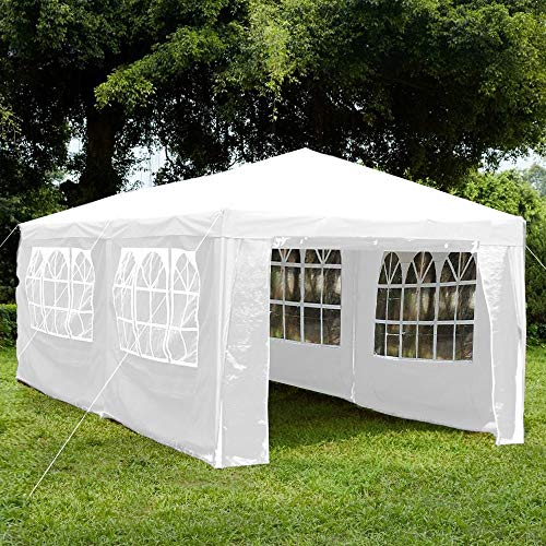 Home Discount Garden Vida Gazebo with Side Panels 3x6m Marquee Zip Up Party Tent Outdoor Garden Canopy Waterproof with Wind Bars, White