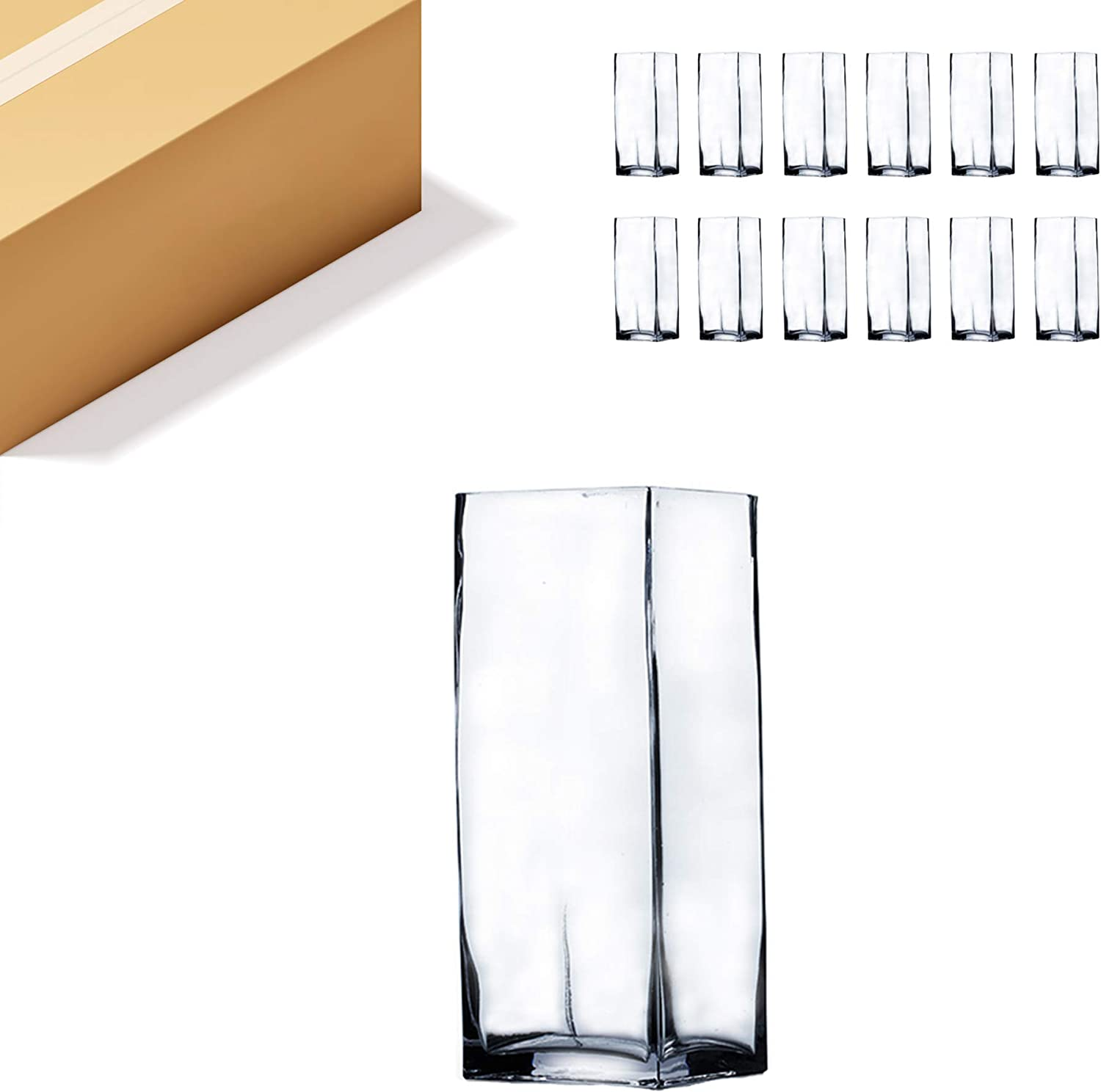 WGV Tall Square Shipping included Vase Glass Block Length New life Bulk Cle Height 3