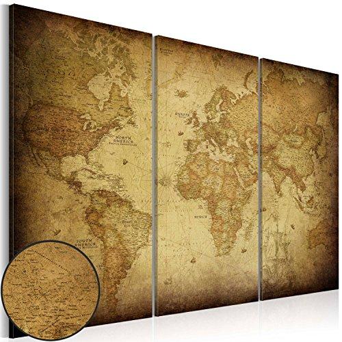 murando - Cuadro en Lienzo 120x80 cm Impresión de 3 Piezas Material Tejido no Tejido Impresión Artística Imagen Gráfica Decoracion de Pared Mapa del Mundo k-A-0007-b-e
