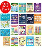 20 Large Educational Posters for Kids, Preschool, Homeschool, and Elementary Classroom Decorations, Teach Numbers, Colors, Animals, Letters, Weather, Time and More Double Side Laminated Flat Ship 13x17 inch
