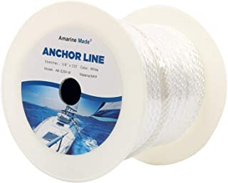 Amarine Made 3/8 Inch 150FT Premium Solid Braid MFP Anchor Line Braided Nylon Anchor Rope/Line with Thimble