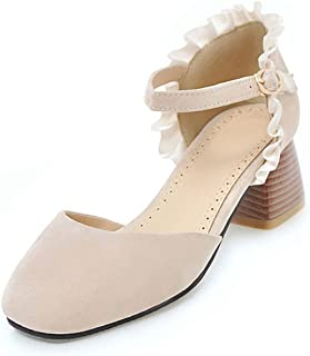 Big Size 32-43 Sweet Lace 2018 Ankle Strap Women Sandals Shoes Woman Square Heels