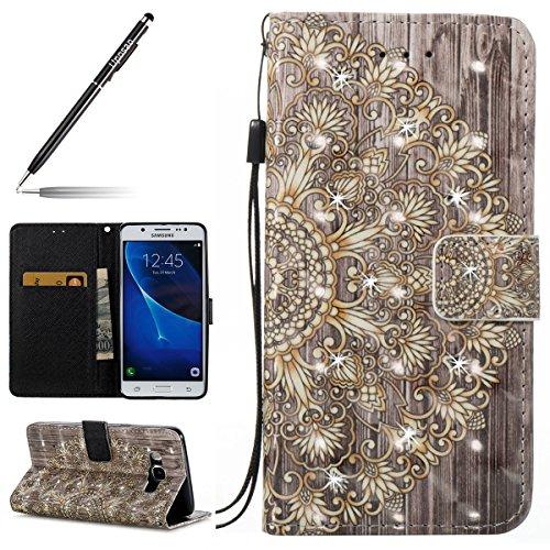 Uposao Kompatibel mit Samsung Galaxy J5 2016 Handyhülle Tasche Klapphülle Bling Diamant Glitzer Leder Schutzhülle Brieftasche Leder Hülle Flip Case PU Leder Tasche Handytasche,Mandala Blumen