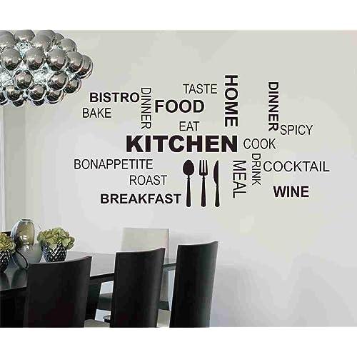 Decals Design 'Kitchen Quote Modern Art' Wall Sticker (PVC Vinyl, 50 cm x 70 cm x 1 cm, Black)