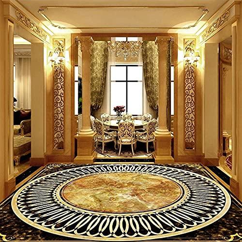 Murales de piso 3D personalizados Estilo europeo Azulejos de mármol Etiqueta impermeable PVC Autoadhesivo Papel tapiz de piso Calcomanías de pared Sala de estar-300x210cm