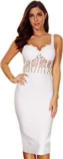Women's Lace Stitching Straps Bandage Bodycon Wedding Party Dress