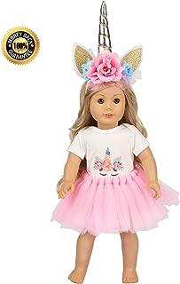FHUE American girsl Doll Unicorn Genius Dolls Unicorn Clothes, Headband, Tutu -fits All 18 inch Dolls Like American Girsl, Our Generation My Life Adora Gotz | Great Gift for Little and Big Girls Doll