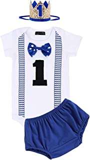 FYMNSI Baby Jungen 1 Jahr Geburtstag Outfit Baumwolle Gentleman Fliege Kurzarm Strampler  Shorts  Krone Stirnband 3tlg Set Fotoshooting Kostüm
