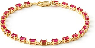 Galaxy Gold 14k Solid Yellow Gold Tennis Bracelet 8 ct (CTW) Red Ruby -3556Y (7.5)