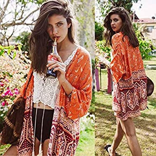Kiminana over up Blouse,Women Boho National Printed Chiffon Shawl Kimono Cardigan Tops Cover up Blouse