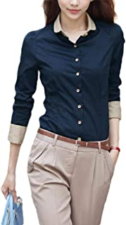 Howely Women Long Sleeve Wear to Work Oversized Fitted Trendy Shirts