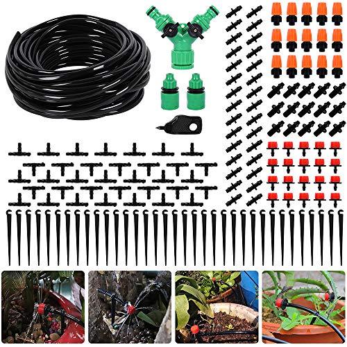 DIY Tuin Irrigatie Systeem Micro Drip Irrigatie Kit; Misting Koeling Systeem met Mister Nozzle Sprinkler 30m Drip Irrigatie Kit voor Kas, Bloemenbed, Patio, Gazon