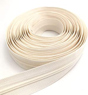10Yards Bulk Zippers #3 Nylon Coil Zippers by The Yard with 15pcs Auto-lock Zipper Sliders and 10pcs Silver Pulls for Sewi...