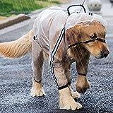 Seahelms Chubasquero para perro, impermeable, con capucha y agujero para arnés y piernas extendidas, transparente ajustable con capucha para perro pequeño, mediano y grande (blanco, 2XL)
