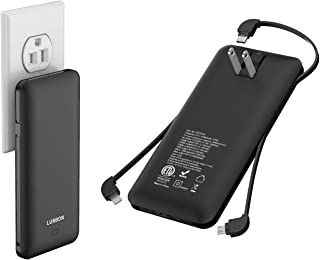 10000 mAh Portable Charger Power Bank Ultra Slim External Battery Pack with Built in AC Plug, Type-c Cable,Micro Cable and Other Cable for Cell Phone