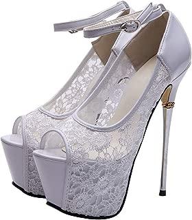 GETMOREBEAUTY Women's Lace Flower Strappy Hollow High Heels