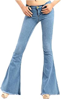 Womens Low Waisted Flared Washed Palazzo Tassles Stretch Denim Pant