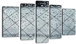 雨 あめ 雨粒 雨模様 ガラス 窓 しずく 雫 悪天候 台風 暴風雨 風 天気 悪い 恵み めぐみ ベランダ 室内 ブルー キャンバスアート アートボード 壁掛け装飾 おしゃれ 部屋飾り インテリアパネル 絵画 ポスター 木枠付きの完成品