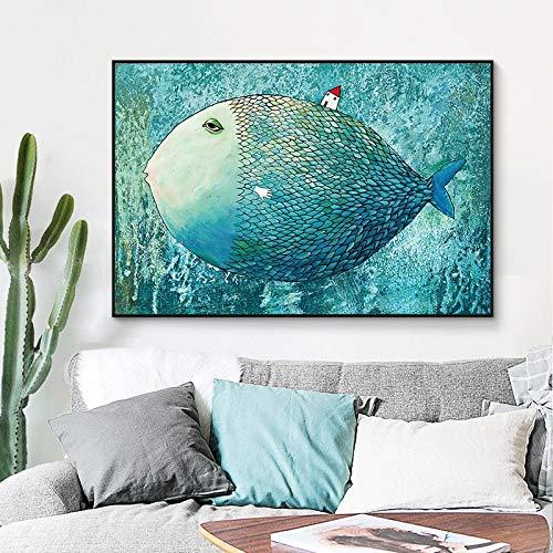 Karikatur großer Fisch kleines Haus Leinwand Kunst Wandbild Wohnzimmer Hauptdekoration Kunst,Rahmenlose Malerei,30x45cm