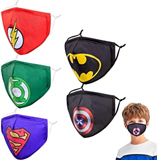 Kids Reusable Cloth Face Masks with Nose Wire,Funny Cute Designer Breathable Washable Adjustable Black Cotton Fabric Face ...