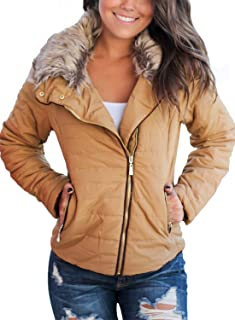 Dokotoo Womens Faux Fur Collar Zip Up Quilted Jacket Coat Outerwear S-XXL