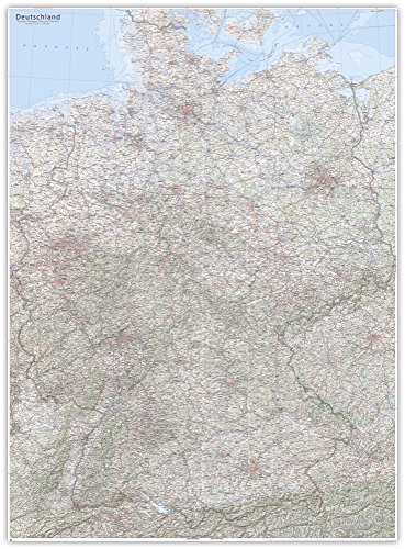 J.Bauer Karten XXL-Karte Topographische Karte Deutschland, 117 x 160 cm, mit Relief-Schummerung