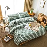 DONEUS Green Duvet Cover Queen, 3 Pieces Ultra Soft Washed Cotton Striped Duvet Cover Set, Super Soft and Easy Care Bedding Set(1 Duvet Cover,2 Pillow Shams) for Men, Women