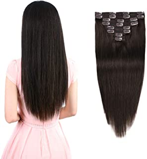 "Real Clip in Hair Extensions Dark Brown 8 Pieces - Premium Womens Straight Double Weft Thick Remy Hair Extensions Clip in on Human Hair for Long Hair (16"" / 16 inch, #2, 102 grams/3.6 Oz )"