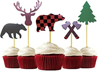 25-Pack Lumberjack Cupcake Toppers, Buffalo Plaid Baby Bear Tree Cupcake Topper for Campfire Lumberjack Party Supplies Baby Shower Dcoration.