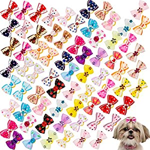 Addachic 70 Pcs/35 Pairs Dog Bows Hair Puppy Bows with Rubber Bands and Rhinestone Pearls Cute Doggy Hair Bows Ribbon Ties for Puppies Girl Boy Yorkie Shih Tzu Dogs Hair Pet Grooming Accessories