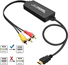 Xmerry RCA to HDMI, 1080P RCA Composite CVBS AV to HDMI Video Audio Converter Adapter Supporting PAL/NTSC for PC Laptop Xbox PS4 PS3 TV STB VHS VCR Camera DVD