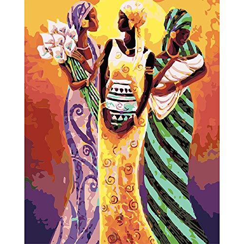 XIAOBAOZISZYH schilderen op cijfers doe-het-zelf olieverfschilderij, Afrikaanse vrouw en vaas, 16 × 20 cm canvas Xy 128 - beginners digitaal schilderij met acrylverf en penseel voor kinderen en volwassenen
