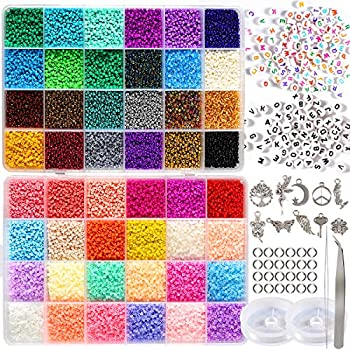 35000pcs 2mm 12/0 Glass Seed Beads for Jewelry Making Supplies Kit Small Bead Craft Set Bracelets Necklace Ring Making Kits Glass Seed Letter Alphabet Beads Charms Pendants DIY Art Craft Kit for Girls