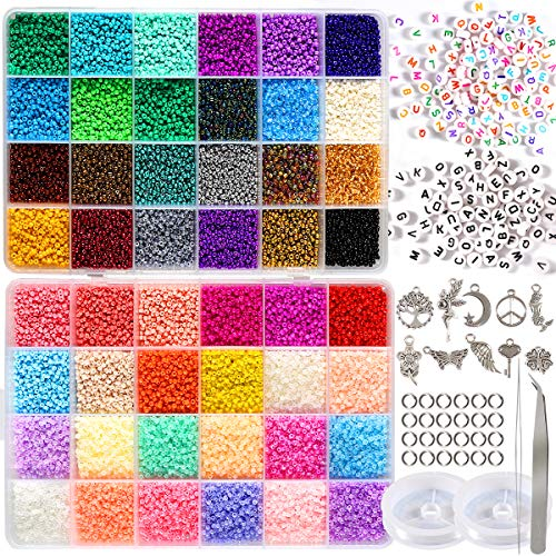 35000pcs 2mm 12/0 Glass Seed Beads for Jewelry Making Supplies Kit Small Bead...