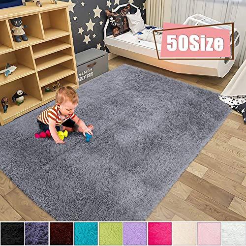 MENGH Teppich Meterware 100x140cm, Schlafzimmer Teppiche rutschfeste Strapazierfähig Outdoor Teppich rund fürWohnzimmerSchlafzimmeroderKinderzimmer, Grau
