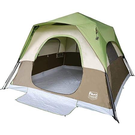 Timber Ridge ワンタッチテント 大型 6人 3*3*2m 広々大空間 7級防風 数秒設営 耐水圧3000cm 収納袋付き ファミリーテント 通気性 家族旅行 キャンプ ピックニック (六人)