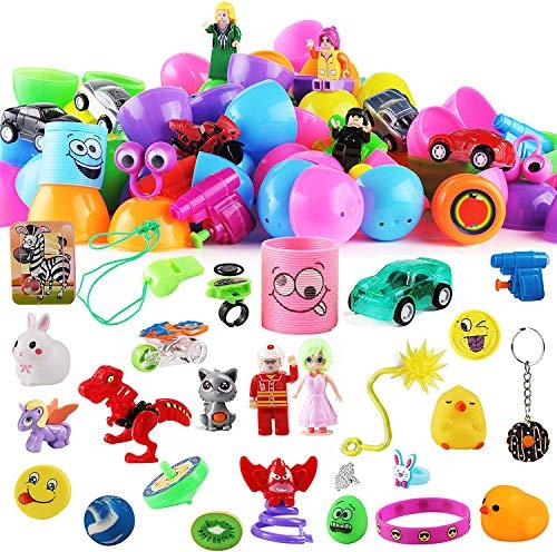 60 Stück Spielzeug plus Aufkleber vorgefüllte Ostereier, 7,5 cm, helle Farben, Ostereier für Osterkorb, Gastgeschenke, Ostereiersuche, Klassenzimmer-Events