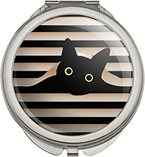 Black Cat In Window Compact Travel Purse Handbag Makeup Mirror