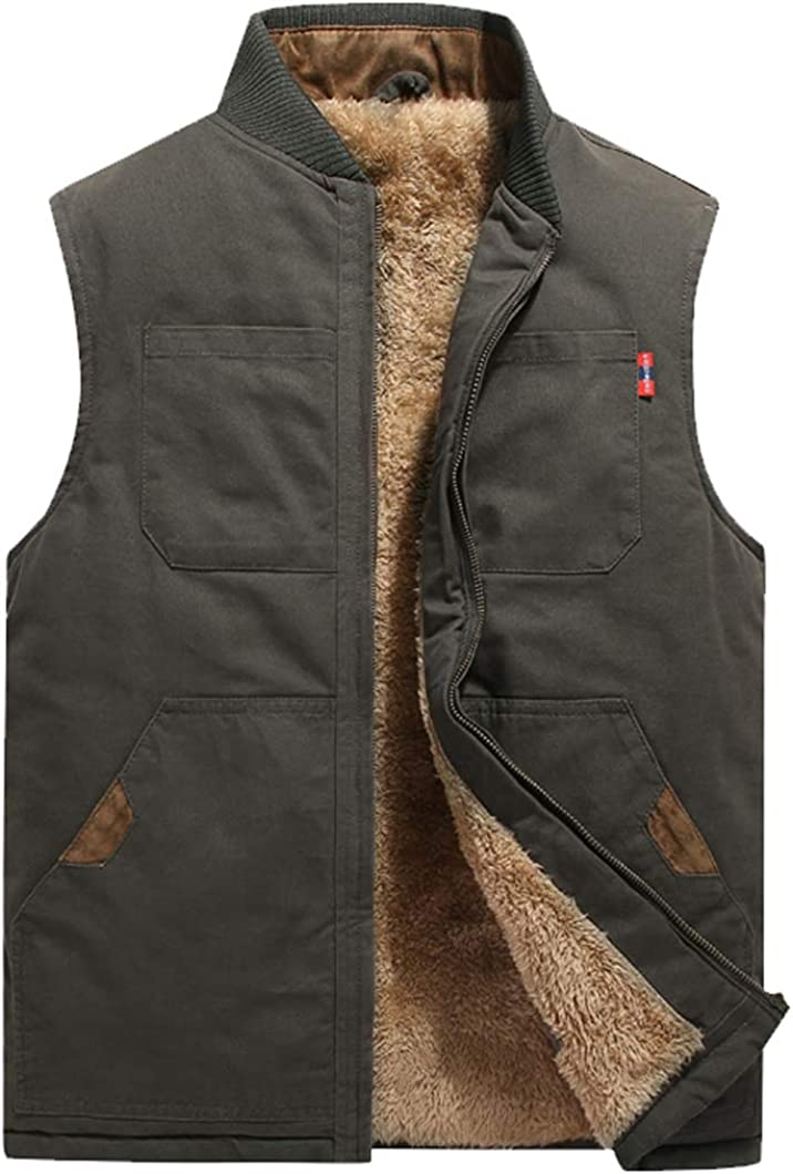 Duyang Men's Outdoor Fleece Lined Vest Cotton Padded Quilted Sleeveless Jackets