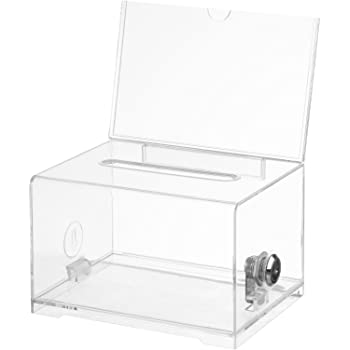 """Adir Acrylic Donation Ballot Box with Lock - Secure and Safe Suggestion Box - Drawing Box - Great for Business Cards (6.25"""" x 4.5"""" x 4"""") - Clear"""