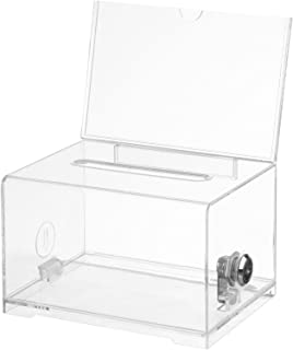 Adir Acrylic Donation Ballot Box with Lock - Secure and Safe Suggestion Box - Drawing Box - Great for Business Cards (6.25...