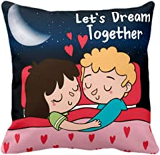 YaYa cafe Lets Dream Together Young Couple Husband Wife Love Printed Canvas Cotton Throw Pillow Cushion Cover , 16 x 16 inches, Blue