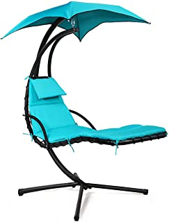 Sandinrayli Hanging Lounger Chaise Porch Swing Hammock Chair Arc Stand Cushion Sun Canopy Blue
