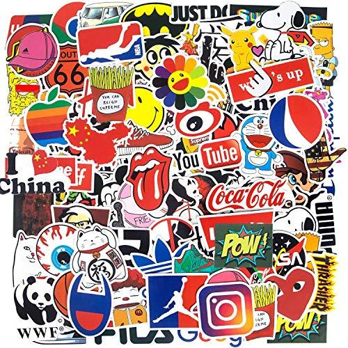 100-Pcs Cool Stickers Logo Sticker Fashion Brand Stickers Laptop Cars Punk Classic Vinyl Waterproof Graffiti, Multi Style Stickers,Teen&Adult (color7)