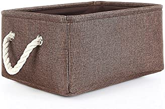 TheWarmHome Collapsible Rectangle Fabric Bin Storage Basket with Rope Handles Baskets for Shelves,Clothes Storage,Magazine...