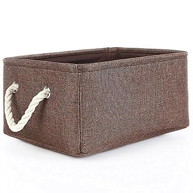 TheWarmHome Decorative Basket Rectangular Fabric Storage Bin Organizer Basket with Handles for Clothes Storage (Brown, 15.7L11.8W8.3H)