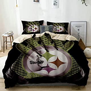 Mokale Duvet Cover Full,3D Print Cyan Steeler Rugby Gloves Grey Smoke Black Background,100% Washed Microfiber 3pcs Bedding Set with 2 Pillow Shams,Reversible Beige,Zipper Closure & Corner Ties